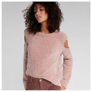 Sold NEW GOLD PINK OFF THE SHOULDER SWEATER XS